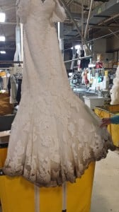 Before Restoration on Modern Lace Wedding Gown